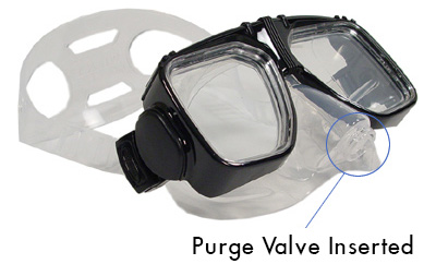 Diving Snorkeling Mask with Purge Valve inserted into silicone skirt on the mask.