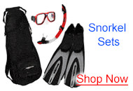 Snorkel Sets with Mask, Snorkel, and Fins